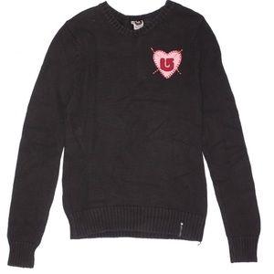 Burton black gray crew neck pullover sweater YS